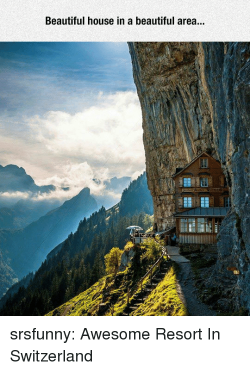 Beautiful, Tumblr, and Blog: Beautiful house in a beautiful area srsfunny:  Awesome Resort In Switzerland