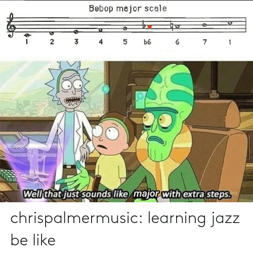 Learning: Bebop major scale  3 4  7 1  1  5  b6  Well that just sounds like major with extra steps. chrispalmermusic:  learning jazz be like