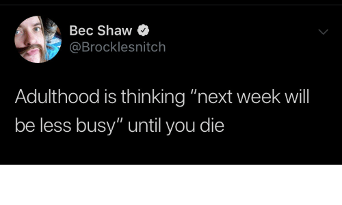 "adulthood: Bec Shaw  @Brocklesnitch  Adulthood is thinking ""next week will  be less busy"" until you die"
