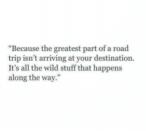 "Stuff, Wild, and All The: ""Because the greatest part of a road  trip isn't arriving at your destination.  It's all the wild stuff that happens  along the way."""