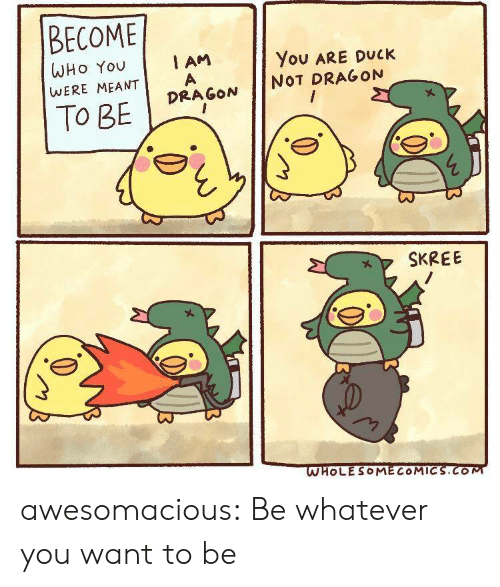 you want to be: BECOME  I AM  WHO You  You ARE DUCK  WERE MEANT  NOT DRAGON  DRAGON  To BE  SKREE  WHOLESOMECOMICS.COM awesomacious:  Be whatever you want to be