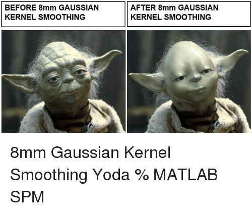 Yoda, Matlab, and Spm: BEFORE 8mm GAUSSIAN  KERNEL SMOOTHING  AFTER 8mm GAUSSIAN  KERNEL SMOOTHING 8mm Gaussian Kernel Smoothing Yoda % MATLAB SPM