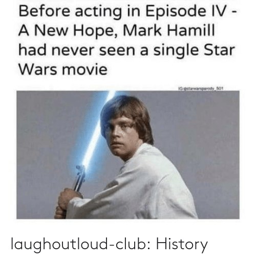 Mark Hamill: Before acting in Episode IV -  A New Hope, Mark Hamill  had never seen a single Star  Wars movie  IGestarwarparody So1 laughoutloud-club:  History