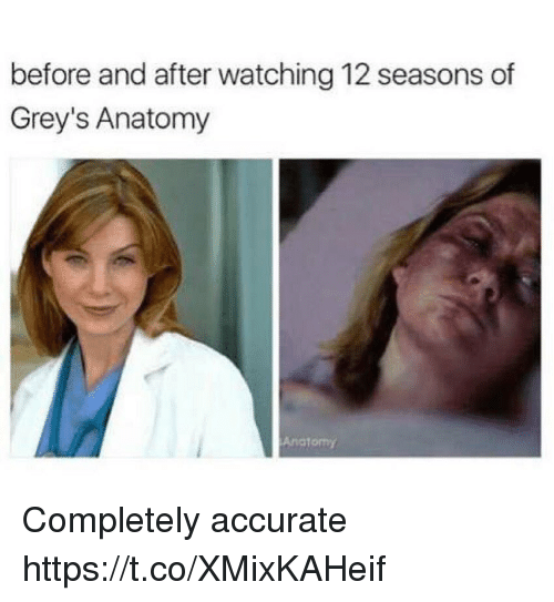 Memes, Grey's Anatomy, and 🤖: before and after watching 12 seasons of  Grey's Anatomy  Anctomy Completely accurate https://t.co/XMixKAHeif
