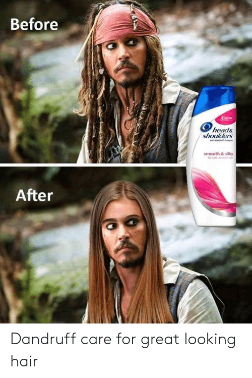 Head, Smooth, and Hair: Before  head&  shoulders  smooth & silky  After Dandruff care for great looking hair