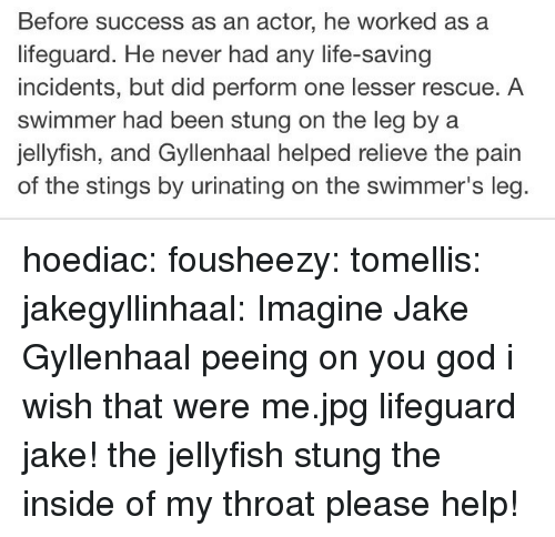 swimmer: Before success as an actor, he worked as a  lifeguard. He never had any life-saving  incidents, but did perform one lesser rescue. A  swimmer had been stung on the leg by a  jellyfish, and Gyllenhaal helped relieve the pain  of the stings by urinating on the swimmer's leg hoediac: fousheezy:  tomellis:  jakegyllinhaal:  Imagine Jake Gyllenhaal peeing on you  god i wish that were me.jpg  lifeguard jake! the jellyfish stung the inside of my throat please help!