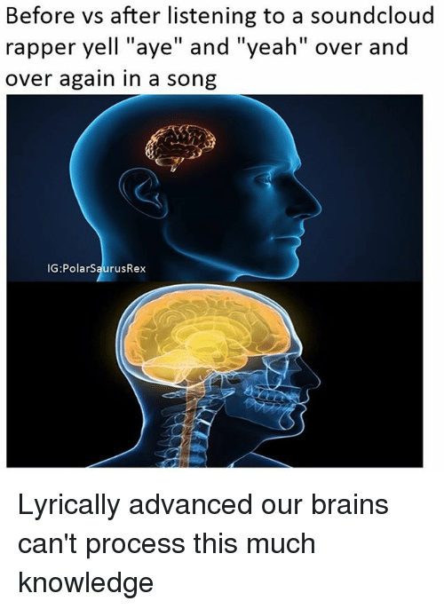 """Ayee: Before vs after listening to a soundcloud  rapper yell """"aye"""" and """"yeah"""" over and  over again in a song  IG:PolarSaurusRex Lyrically advanced our brains can't process this much knowledge"""