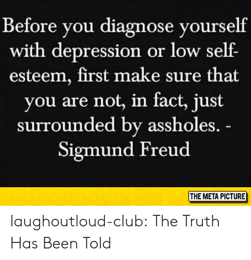 Club, Tumblr, and Sigmund Freud: Before you diagnose yourself  with depression or low self  esteem, first make sure that  you are not, in fact, just  surrounded by assholes.  Sigmund Freud  THE META PICTURE laughoutloud-club:  The Truth Has Been Told