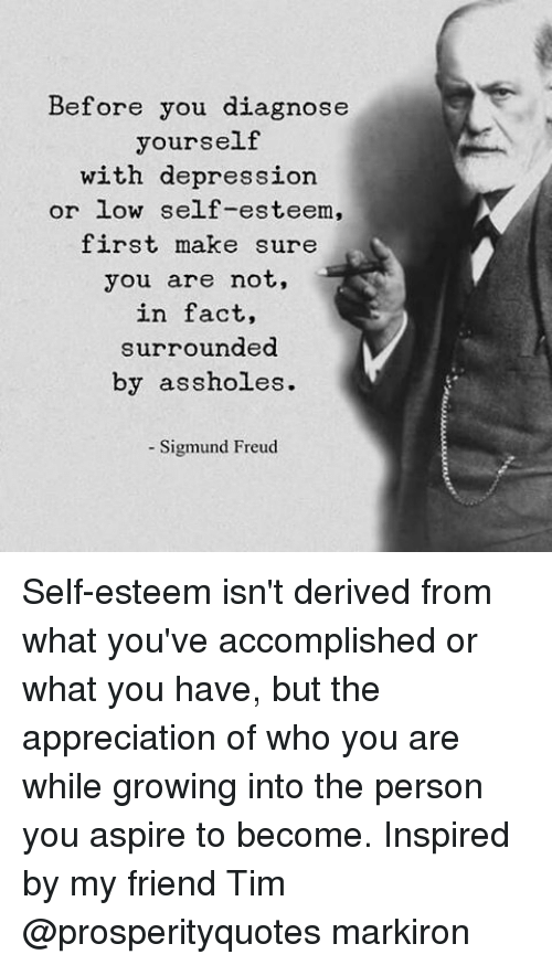 Memes, Sigmund Freud, and Appreciate: Before you diagnose  yourself  with depression  or low self-esteem,  first make sure  you are not,  in fact,  surrounded  by assholes.  Sigmund Freud Self-esteem isn't derived from what you've accomplished or what you have, but the appreciation of who you are while growing into the person you aspire to become. Inspired by my friend Tim @prosperityquotes markiron