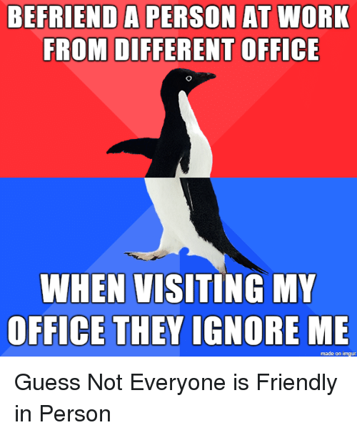 ignore me: BEFRIEND A PERSON AT WORK  FROM DIFFERENT OFFICE  WHEN VISITING MY  OFFICE THEY IGNORE ME  made on imgur Guess Not Everyone is Friendly in Person