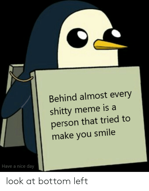 Meme, Smile, and Nice: Behind almost every  shitty meme is a  person that tried to  make you smile  Have a nice day look at bottom left