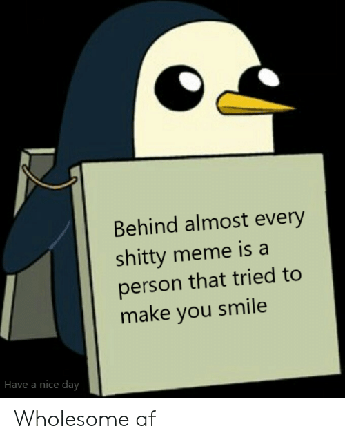 Af, Meme, and Smile: Behind almost every  shitty meme is a  person that tried to  make you smile  Have a nice day Wholesome af