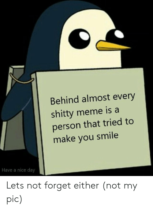 Meme, Smile, and Nice: Behind almost every  shitty meme is a  person that tried to  make you smile  Have a nice day Lets not forget either (not my pic)