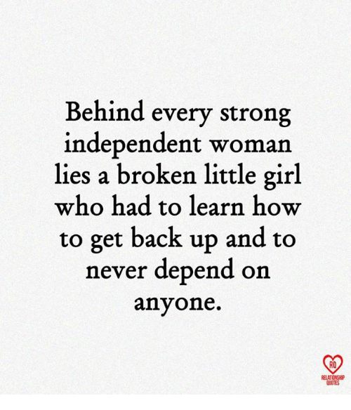 Get Back Up: Behind every strong  independent woman  lies a broken little girl  who had to learn how  to get back up and to  never depend on  anyone.  RO  RELATIONSHIP  QUOTES