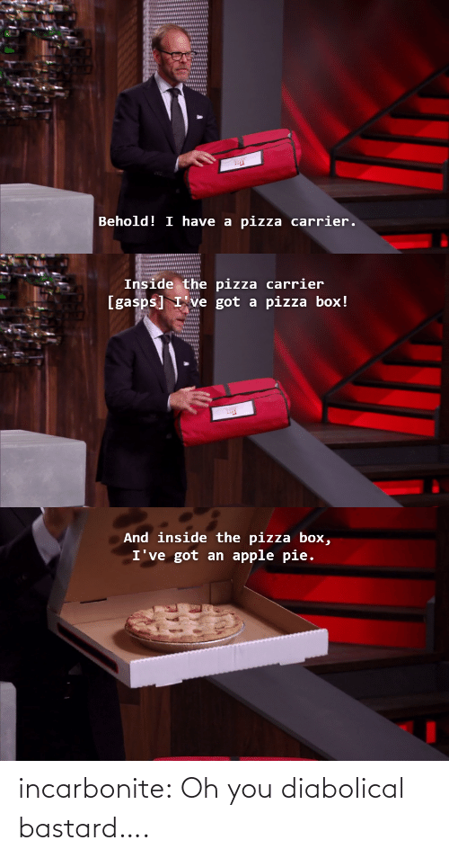 diabolical: Behold! I have a  pizza carrier.   Inside the pizza carrier  [gasps] I've got a pizza box!   And inside the pizza box,  I've got an apple pie. incarbonite:  Oh you diabolical bastard….