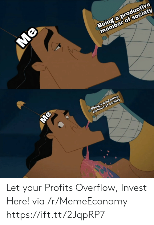 Profits: Being a productive  member of society  Being a productive  member of society  Me  Me Let your Profits Overflow, Invest Here! via /r/MemeEconomy https://ift.tt/2JqpRP7