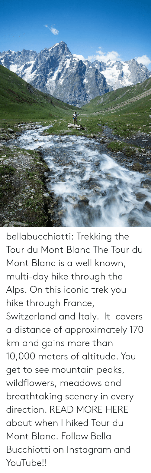 Hike: bellabucchiotti: Trekking the Tour du Mont Blanc   The Tour du Mont Blanc is a well known, multi-day hike through the Alps.  On this iconic trek you hike through France, Switzerland and Italy. It  covers a distance of approximately 170 km and gains more than 10,000  meters of altitude. You get to see mountain peaks, wildflowers, meadows  and breathtaking scenery in every direction.   READ MORE HERE about when I hiked Tour du Mont Blanc.  Follow Bella Bucchiotti on Instagram and YouTube!!