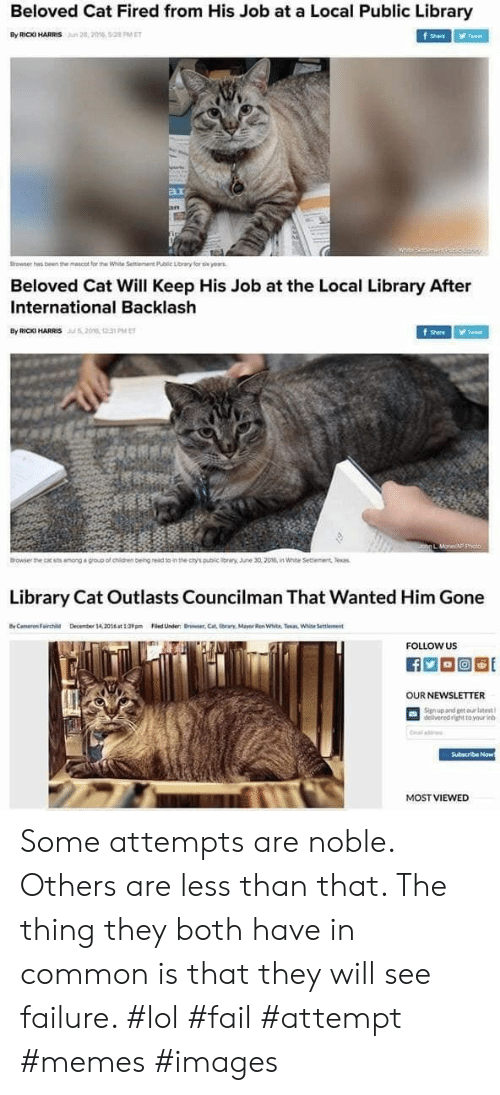 Fail, Lol, and Memes: Beloved Cat Fired from His Job at a Local Public Library  By RICKI HARRIS  28,2016, 5:28 PM ET  f Share  Tweet  ar  an  Browser has been the mescot for the White Seitiement Public Lorary for six yearas  Beloved Cat Will Keep His Job at the Local Library After  International Backlash  By RIC HARRIS206, 1 PMET  Tweet  Shere  Johg L MoneAF p  Browser the cat sts among a group of chidren beingread to in the ctys public iray. une 30,2016, in White Settiement Tesas  Library Cat Outlasts Councilman That Wanted Him Gone  yCameron Fairchild  Decmber 14,20t39Filed Under Brwer,Cat tbrars, Mayor Ren White. Taan White Settlement  FOLLOW US  OUR NEWSLETTER  Signup and get our latest  delivered right to your inb  Cal add  Subscribe Now  MOST VIEWED Some attempts are noble. Others are less than that. The thing they both have in common is that they will see failure. #lol #fail #attempt #memes #images