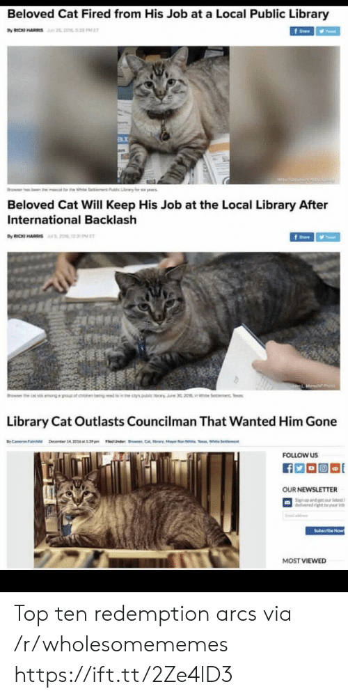 beloved: Beloved Cat Fired from His Job at a Local Public Library  by RICKI HARS n 2, 2052 PE  f  rawer h  ben the  t rt h  Pubic Lary  ye  Beloved Cat Will Keep His Job at the Local Library After  International Backlash  By RICKI HARIS20% 2  fe  Browser the  earn bengt 's  i Se c Tes  Library Cat Outlasts Councilman That Wanted Him Gone  BC ember 14 1.3pm edUnder C  Selent  FOLLOW US  OUR NEWSLETTER  Sign nd t tt  delivered ightr v  Suteribe Now  MOST VIEWED Top ten redemption arcs via /r/wholesomememes https://ift.tt/2Ze4lD3