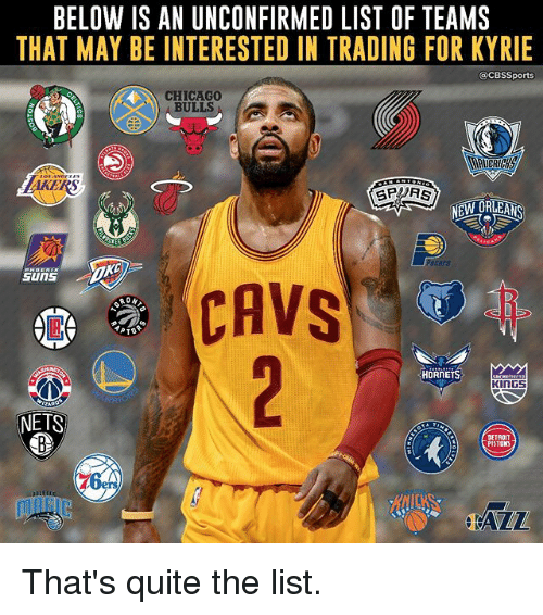 list ofs: BELOW IS AN UNCONFIRMED LIST OF TEAMS  THAT MAY BE INTERESTED IN TRADING FOR KYRIE  CBSSports  CHICAGO  BULLS  GPRS  NEW ORLEANS  CAVS  PTO  HORNETS  KINGS  NETS  DETROIT  PISTONS  76 That's quite the list.