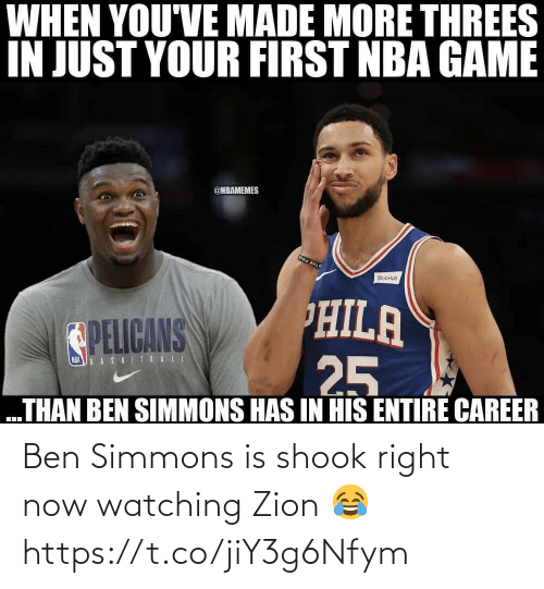 ballmemes.com: Ben Simmons is shook right now watching Zion 😂 https://t.co/jiY3g6Nfym