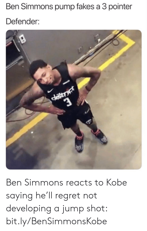 Nba, Regret, and Kobe: Ben Simmons pump fakes a 3 pointer  Defender: Ben Simmons reacts to Kobe saying he'll regret not developing a jump shot: bit.ly/BenSimmonsKobe