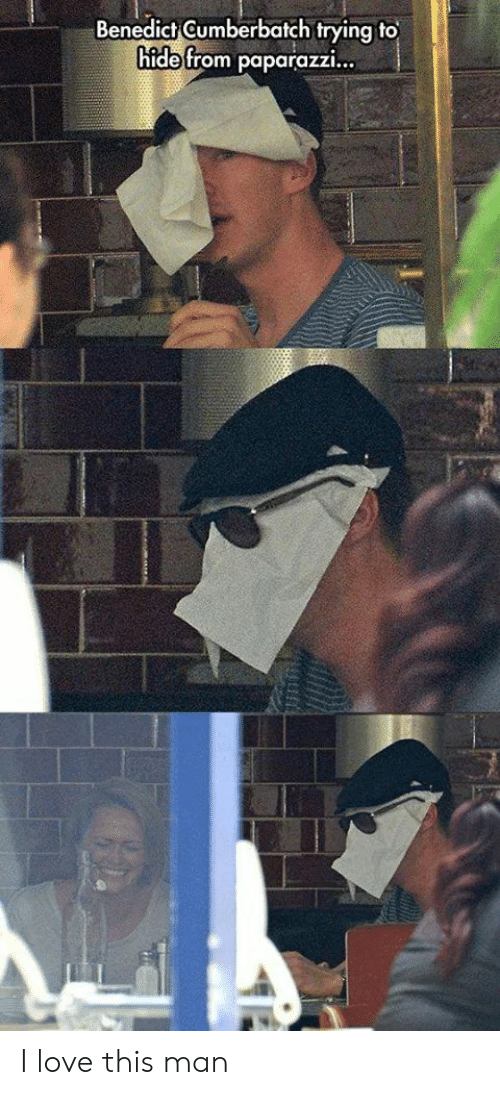 love-this-man: Benedict Gumberbatch trying to  hide from paparazzi... I love this man
