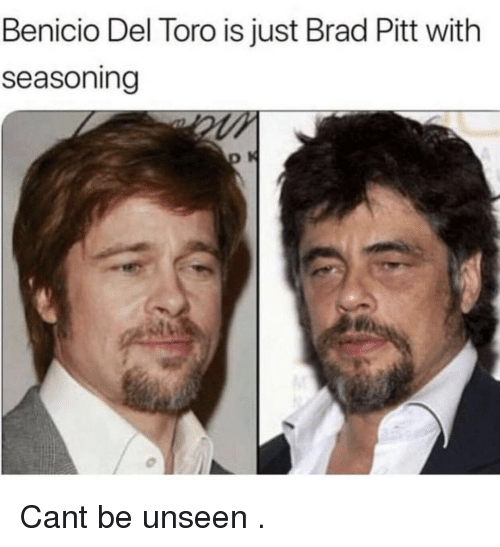 Brad Pitt: Benicio Del Toro is just Brad Pitt with  seasoning Cant be unseen .