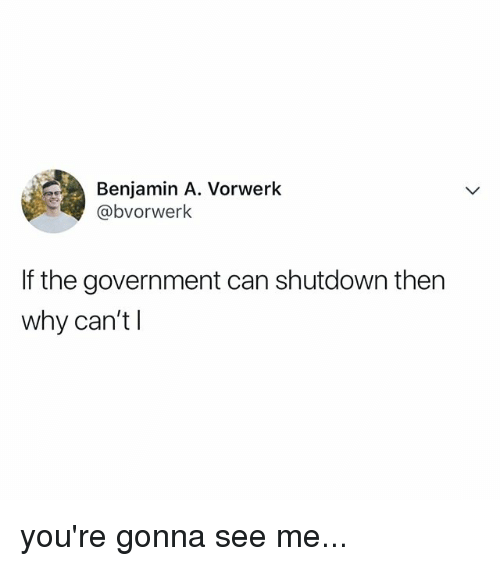 Relatable, Government, and Can: Benjamin A. Vorwerk  @bvorwerk  If the government can shutdown then  why can'tl you're gonna see me...