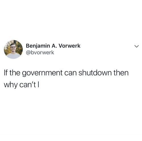 Government, Can, and Why: Benjamin A. Vorwerk  @bvorwerk  If the government can shutdown then  why can't l