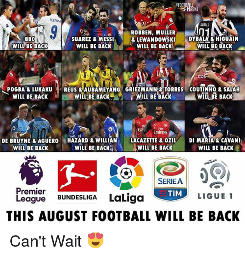 Mullered: BENZEMA  ROBBEN, MULLER  & LEWANDOWSKI DYBALA & HIGUAIN  mi  BBO  WILL BE BACK  SUAREZ & MESSI  WILL BE BACK  WILL BE BACK  WILL BE BACK  POGBA&LAUREUS &AUBAMEYANG GRIEZMANN&TORRES COUTINHO& SALAH  WILIL BE BACKWILL BE BACK  WIIL BE BACK  WILL BE BACK  Fly  Emirates  DE BRUYNE &AGUERO HAZARD & WILLIAN LACAZETTE&OZILDI MARIA &CAVANI  WILL BE BACK WIL BE BACK  WILL BE BACK  WILL BE BACK  SERIE A  Premier  League BUNDESLIGA LaLiga  LIGUE 1  THIS AUGUST FOOTBALL WILL BE BACK Can't Wait 😍