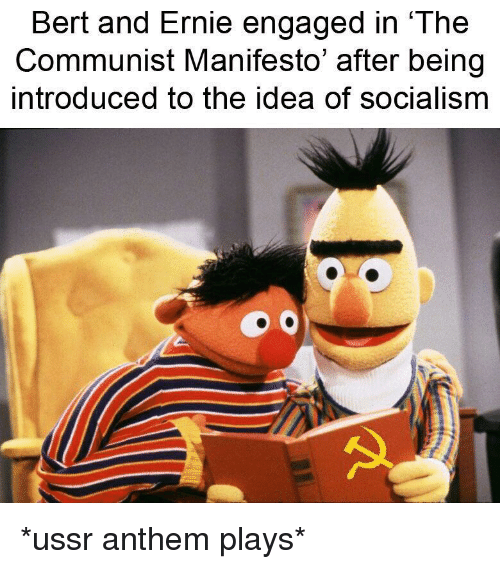 Bert And Ernie Engaged In The Communist Manifesto After