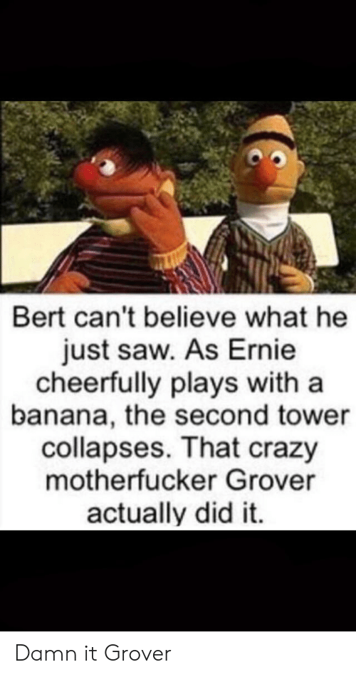 believe: Bert can't believe what he  just saw. As Ernie  cheerfully plays with a  banana, the second tower  collapses. That crazy  motherfucker Grover  actually did it. Damn it Grover