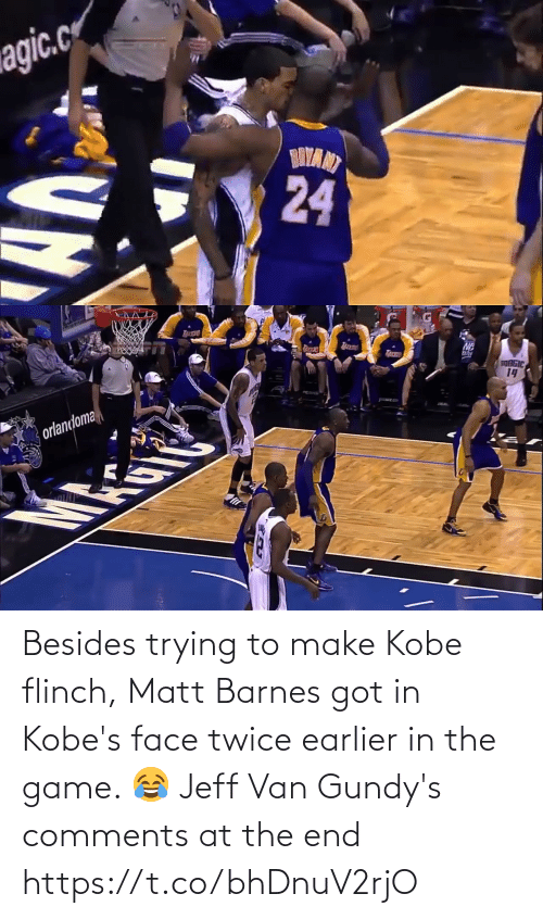 Matt: Besides trying to make Kobe flinch, Matt Barnes got in Kobe's face twice earlier in the game.   😂 Jeff Van Gundy's comments at the end https://t.co/bhDnuV2rjO