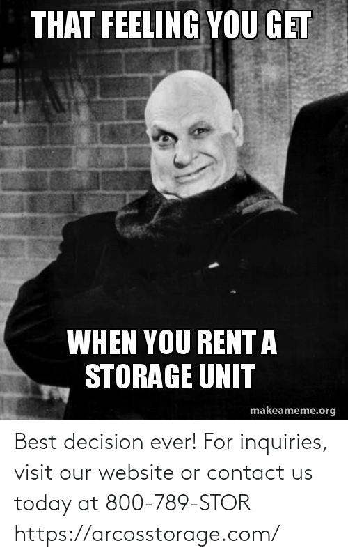 contact: Best decision ever! For inquiries, visit our website or contact us today at 800-789-STOR  https://arcosstorage.com/
