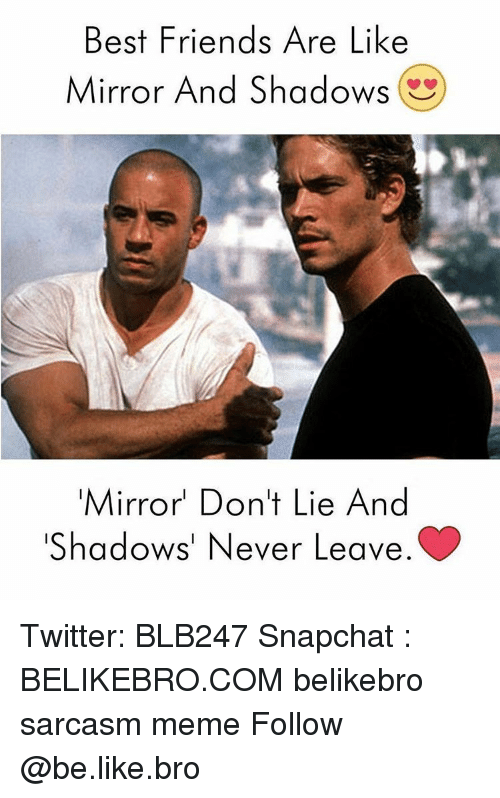 Best Friends Are Like: Best Friends Are Like  Mirror And Shadows  Mirror Don't Lie And  Shadows' Never Leave Twitter: BLB247 Snapchat : BELIKEBRO.COM belikebro sarcasm meme Follow @be.like.bro