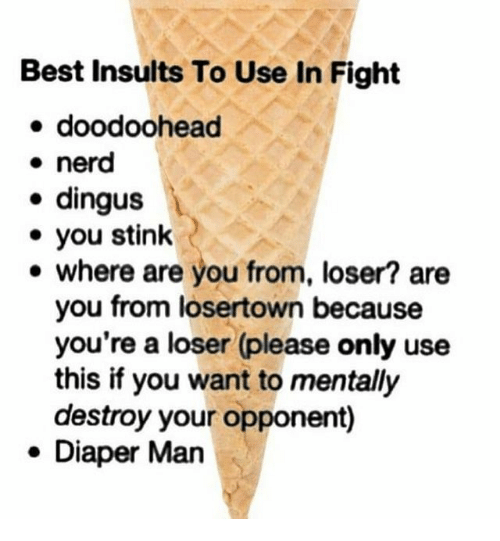 Nerd, Best, and Insults: Best Insults To Use In Fight  doodoohead  nerd  . dingus  . you stink  e where are you from, loser? are  you from losertown because  you're a loser (please only use  this if you want to mentally  destroy your opponent)  . Diaper Man