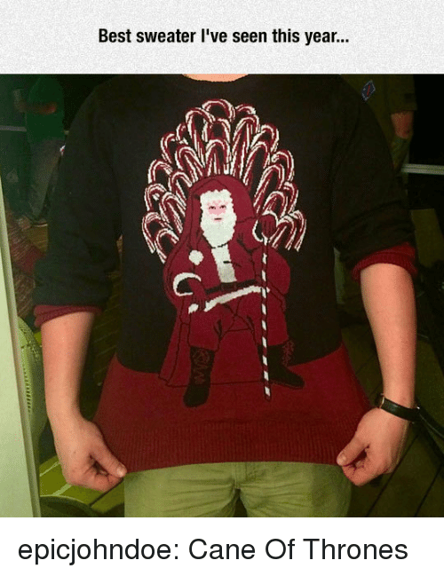 Tumblr, Best, and Blog: Best sweater l've seen this year... epicjohndoe:  Cane Of Thrones