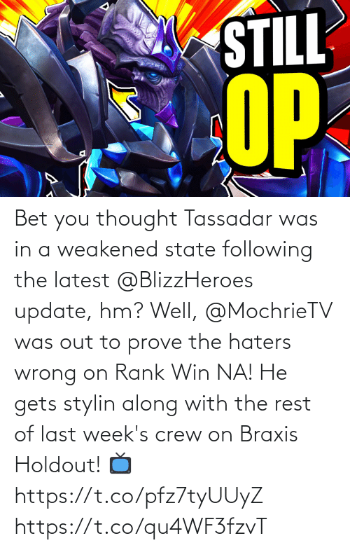 following: Bet you thought Tassadar was in a weakened state following the latest @BlizzHeroes update, hm?  Well, @MochrieTV was out to prove the haters wrong on Rank Win NA!  He gets stylin along with the rest of last week's crew on Braxis Holdout!  📺https://t.co/pfz7tyUUyZ https://t.co/qu4WF3fzvT