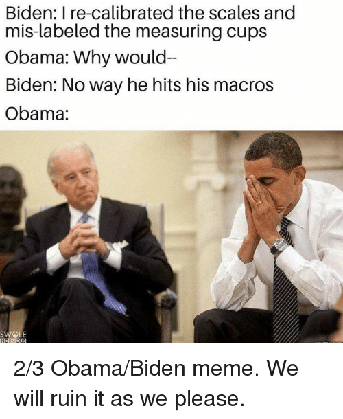 Biden, Norm, and Mis: Biden: I re-calibrated the scales and  mis-labeled the measuring cups  Obama: Why would-  Biden: Noway he hits his macros  Obama:  SWELE  NORM  OUS 2/3 Obama/Biden meme. We will ruin it as we please.
