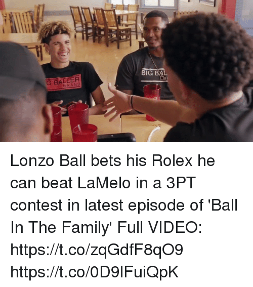 Conteste: BIG BAL  G BALLER  BRAND Lonzo Ball bets his Rolex he can beat LaMelo in a 3PT contest in latest episode of 'Ball In The Family'  Full VIDEO: https://t.co/zqGdfF8qO9 https://t.co/0D9lFuiQpK