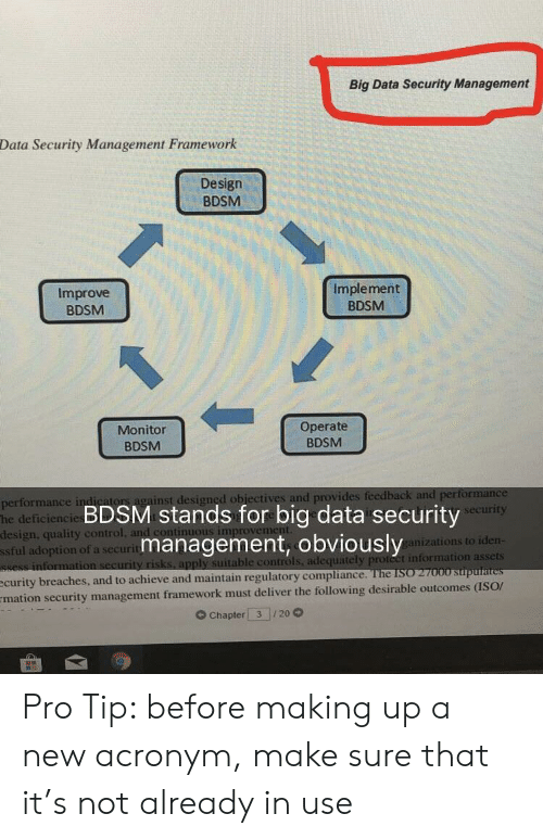 Adequately: Big Data Security Management  Data Security Management Framework  Design  BDSM  Improve  BDSM  Implement  BDSM  Monitor  BDSM  Operate  BDSM  or  ainst designed obiectives and provides  performance in  he deficiencie  design, quality control  ssful adoption of a securit  BDSM stands for big data security  management, obviously  urity  anizations to iden  ble controls, adequately proteet information assets  see  improvem  curity breaches, and to achieve and maintain regulatory compliarn  mation security management framework must deliver the following desirable outcomes (ISOr  G Chapter 3 20 Pro Tip: before making up a new acronym, make sure that it's not already in use