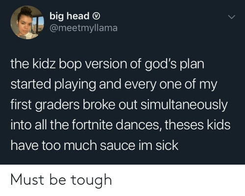 Head, Too Much, and Kids: big head O  @meetmyllama  the kidz bop version of god's plan  started playing and every one of my  first graders broke out simultaneously  into all the fortnite dances, theses kids  have too much sauce im sick Must be tough