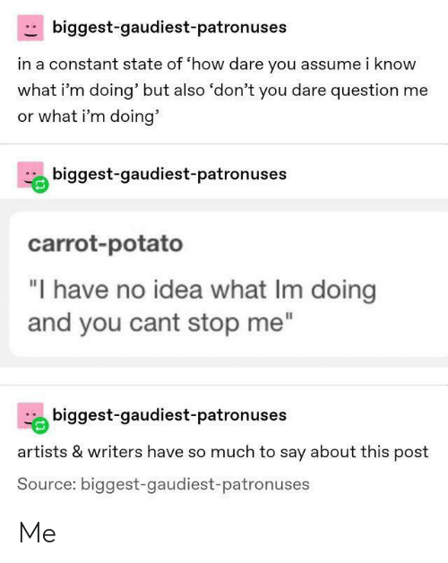 "Or What: biggest-gaudiest-patronuses  in a constant state of 'how dare you assume i know  what i'm doing' but also 'don't you dare question me  or what i'm doing'  biggest-gaudiest-patronuses  carrot-potato  ""I have no idea what Im doing  and you cant stop me""  biggest-gaudiest-patronuses  artists & writers have so much to say about this post  Source: biggest-gaudiest-patronuses Me"