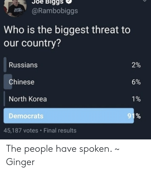 democrats: Biggs  @Rambobiggs  ROES  Who is the biggest threat to  our country?  Russians  2%  Chinese  6%  North Korea  1%  91%  Democrats  45,187 votes Final results The people have spoken. ~ Ginger