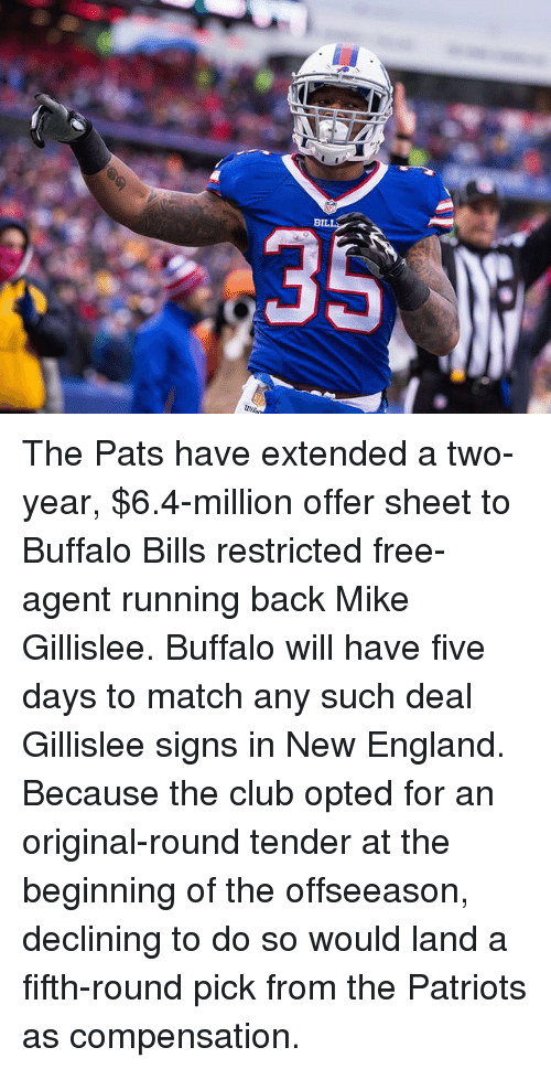 Buffalo Bills: BIL  R The Pats have extended a two-year, $6.4-million offer sheet to Buffalo Bills restricted free-agent running back Mike Gillislee. Buffalo will have five days to match any such deal Gillislee signs in New England. Because the club opted for an original-round tender at the beginning of the offseeason, declining to do so would land a fifth-round pick from the Patriots as compensation.