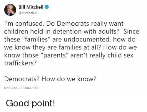 """Children, Confused, and Memes: Bill Mitchell  @mitchellvii  I'm confused. Do Democrats really want  children held in detention with adults? Since  these """"families"""" are undocumented, how do  we know they are families at all? How do we  know those """"parents"""" aren't really child sex  traffickers?  Democrats? How do we know?  6:59 AM-17 Jun 2018 Good point!"""