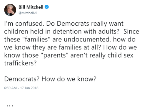 """Children, Confused, and Memes: Bill Mitchell  @mitchelvii  I'm confused. Do Democrats really want  children held in detention with adults? Since  these """"families"""" are undocumented, how do  we know they are families at all? How do we  know those """"parents"""" aren't really child sex  traffickers?  Democrats? How do we know?  6:59 AM-17 Jun 2018 ..."""