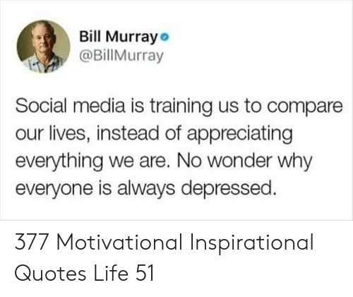 Bill Murray: Bill Murray  @BillMurray  Social media is training us to compare  our lives, instead of appreciating  everything we are. No wonder why  everyone is always depressed 377 Motivational Inspirational Quotes Life 51