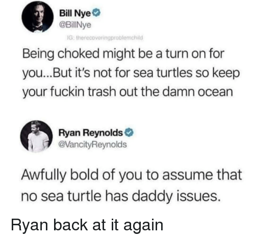 Bill Nye: Bill Nye  @BillNye  IG, therecovetingproblemchild  Being choked might be a turn on for  you...But it's not for sea turtles so keep  your fuckin trash out the damn ocean  Ryan Reynolds  VancityReynolds  Awfully bold of you to assume that  no sea turtle has daddy issues. Ryan back at it again